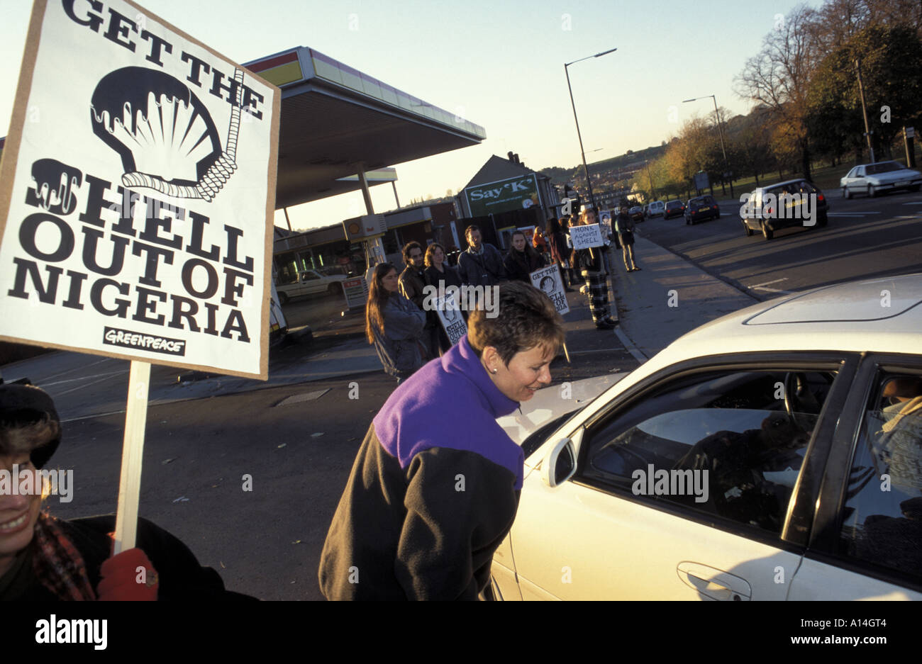 Protest outside a Shell garage in Bristol after the execution of Ken Sara Wiwa in Nigerea Demo in Bristol UK November 1995 - Stock Image