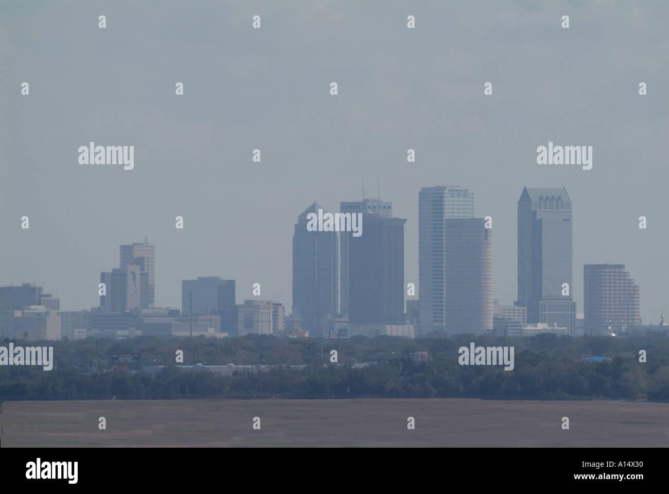 Haze and air pollution over Tampa Florida Stock Photo