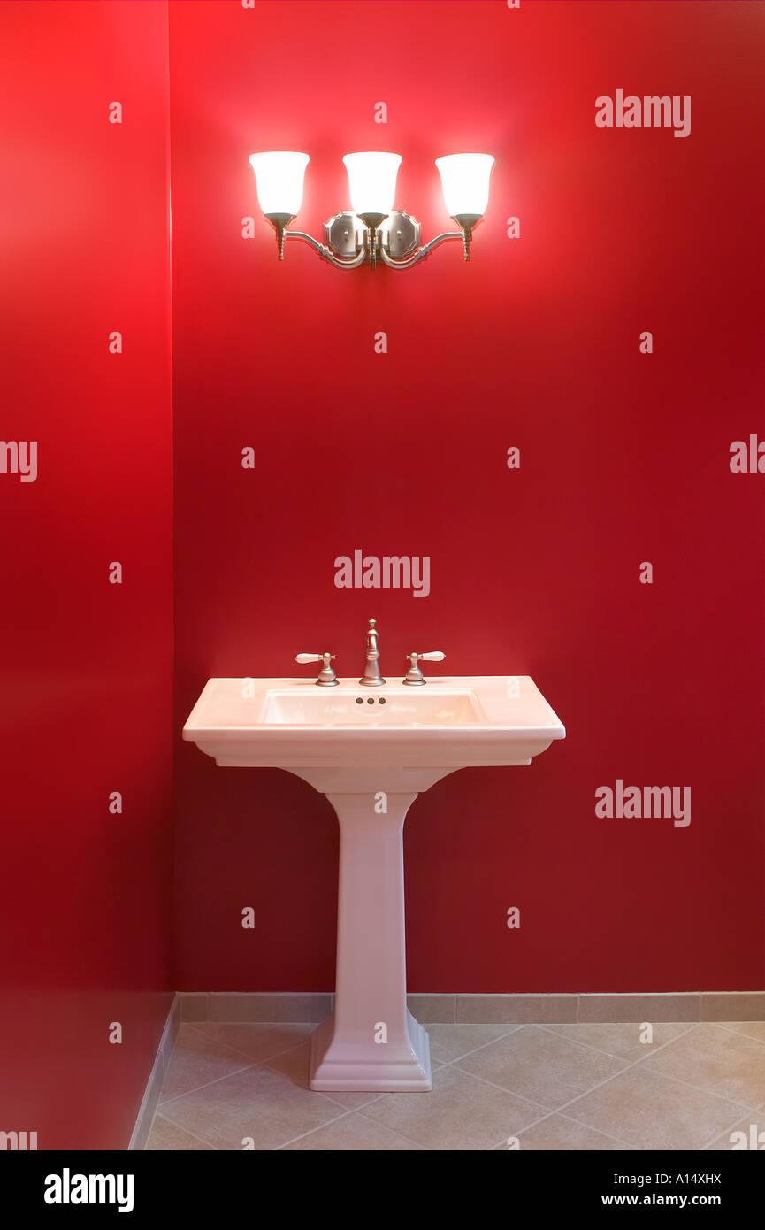 Red Bathroom With Sink U0026 Light Stock Photo: 10144501   Alamy