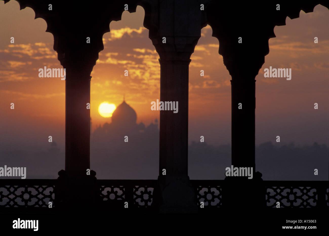 Sunrise over Taj Mahal from Agra Fort Agra India Stock Photo