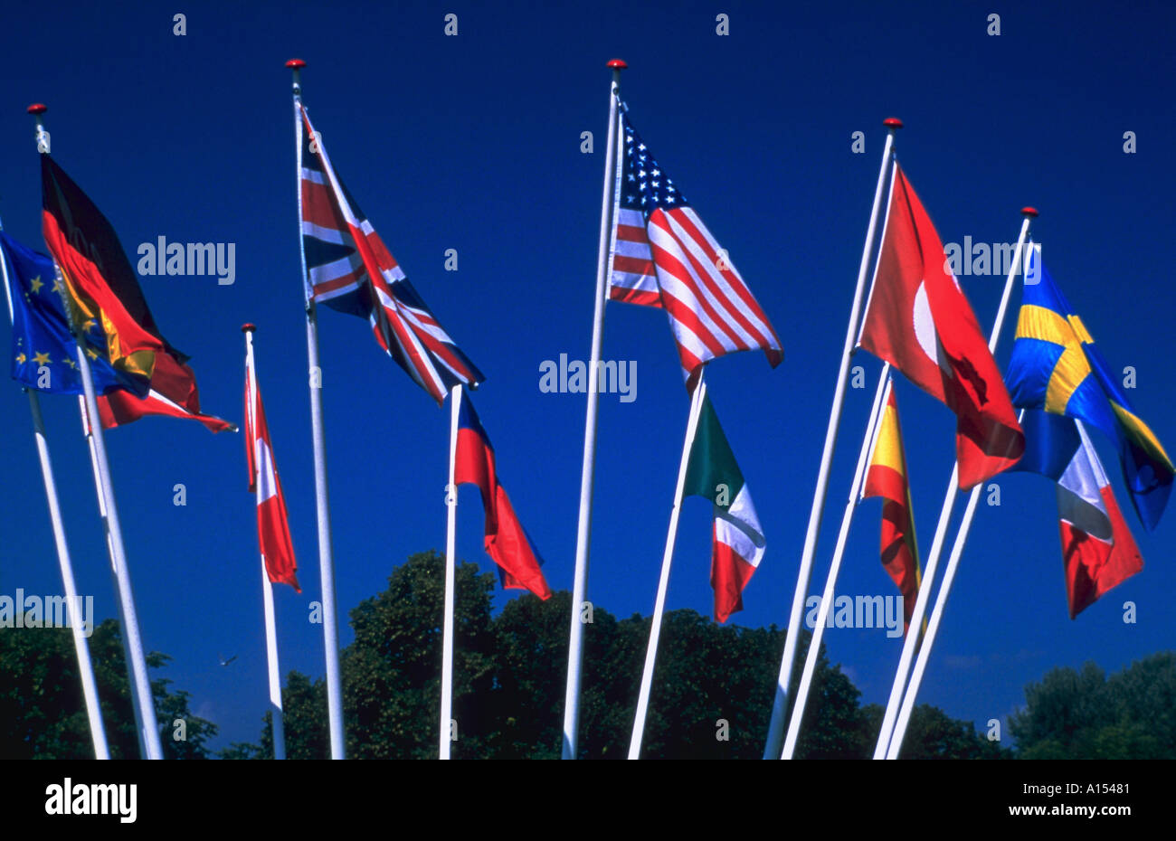A display of international flags blowing from flag poles outside - Stock Image