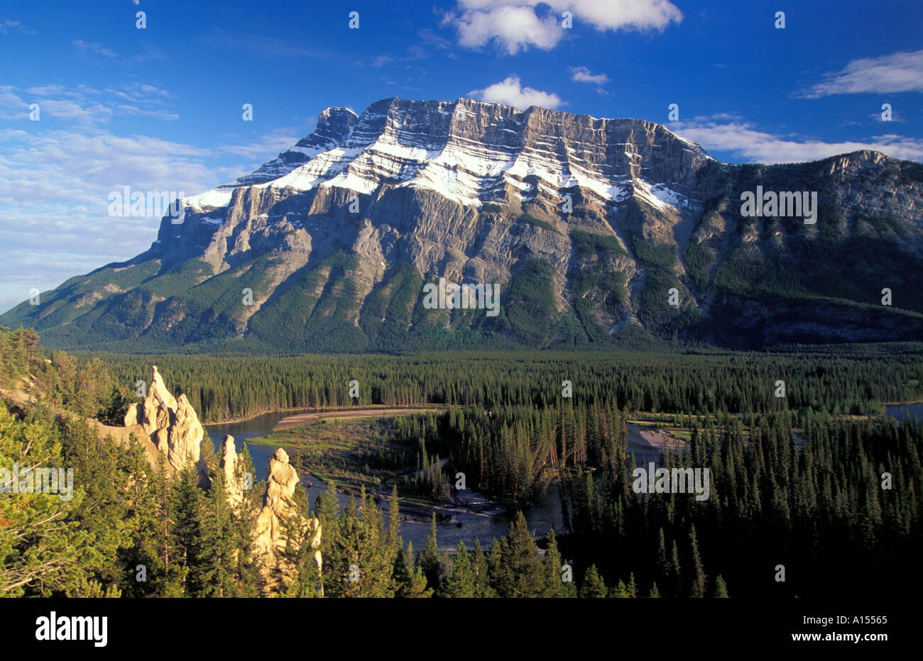Mt Rundle Bow Valley Banff National Park Alberta Canada - Stock Image