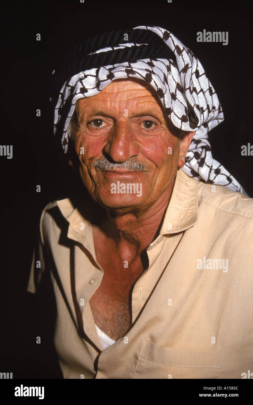 Portrait of an elderly man wearing a traditional headcloth a guardian at the Folklore Museum Amman Jordan Middle East K Gillham - Stock Image