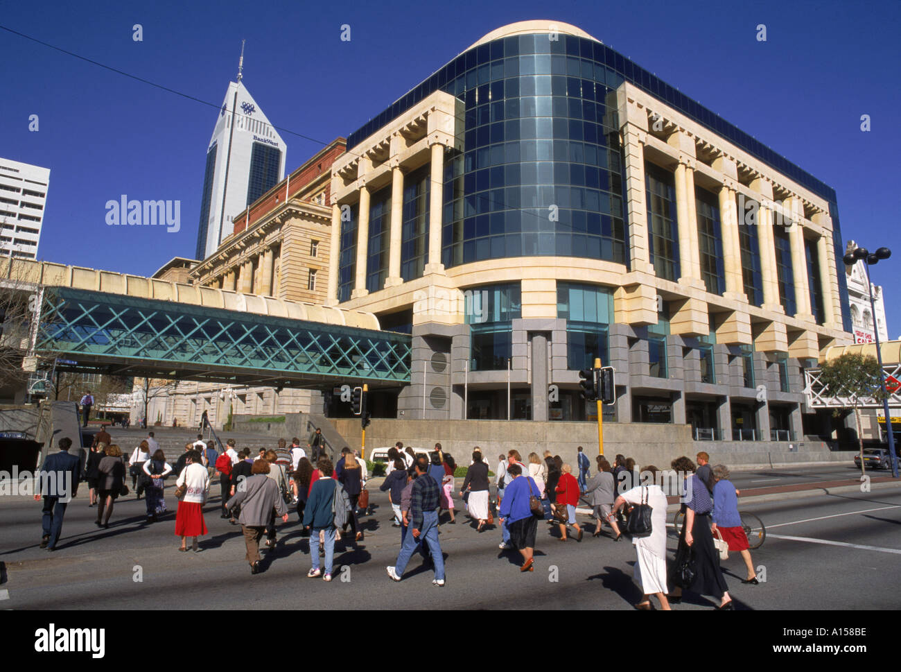 Commuters walking through Forrest Place in Perth Western Australia K Gillham - Stock Image