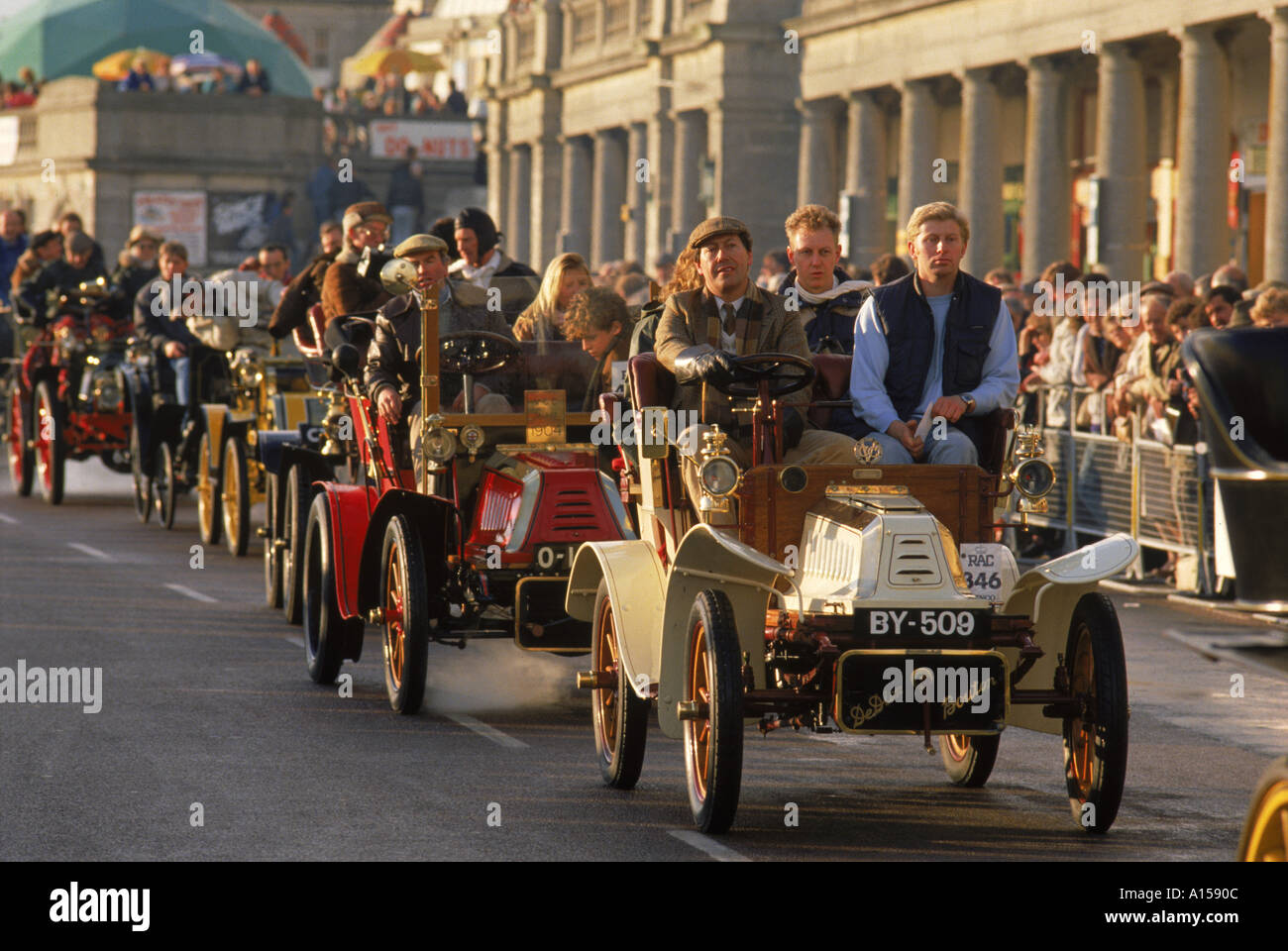 The finish of the London to Brighton run for vintage motor cars in England A Woolfitt - Stock Image