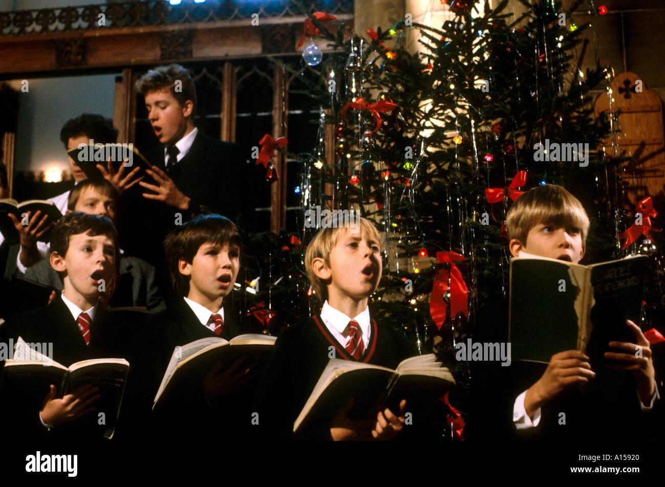 Carol service choir at Christmas England UK A Woolfitt - Stock Image