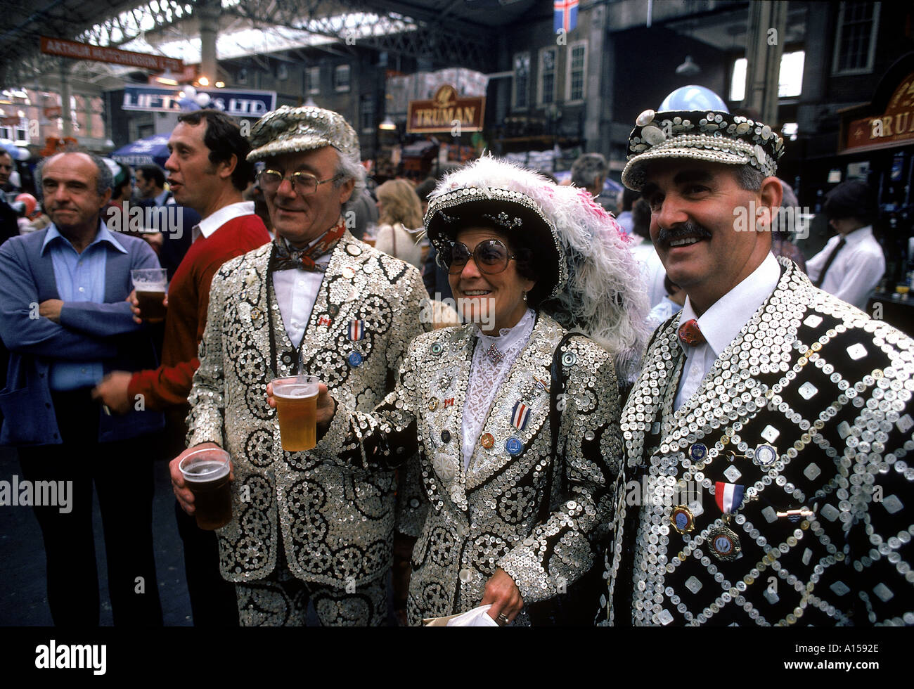 Pearly Kings Queens England UK A Woolfitt - Stock Image