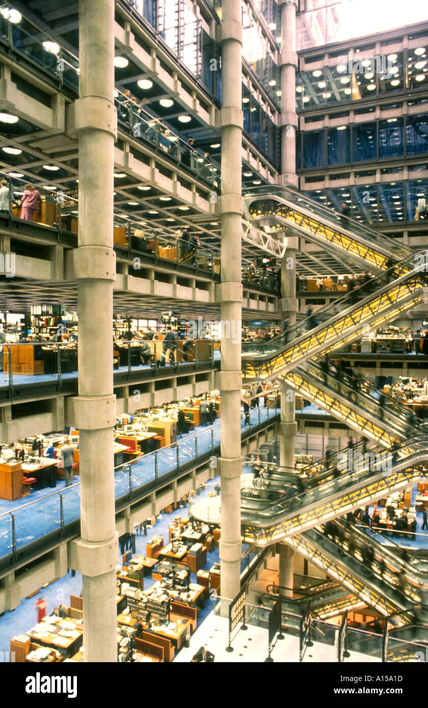 Large atrium in the Lloyd s Building designed by Richard Rogers City of London London England UK A Woolfitt - Stock Image
