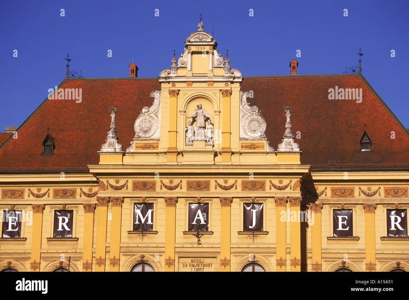 Close up of facade and roof of the building housing Arts and Crafts Museum in Zagreb Croatia K Gillham - Stock Image