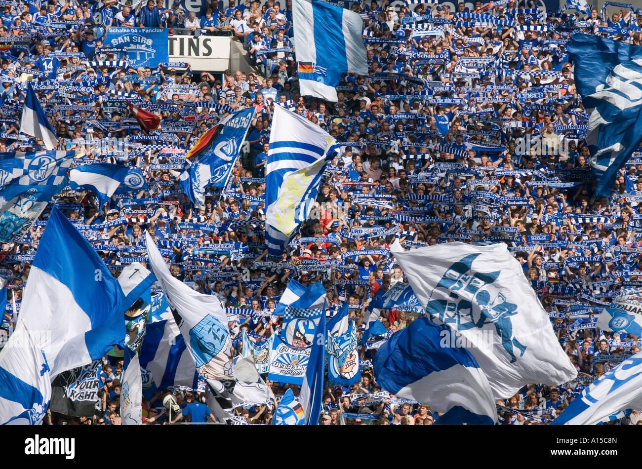 Fans of the german soccer club FC Schalke 04 Stock Photo