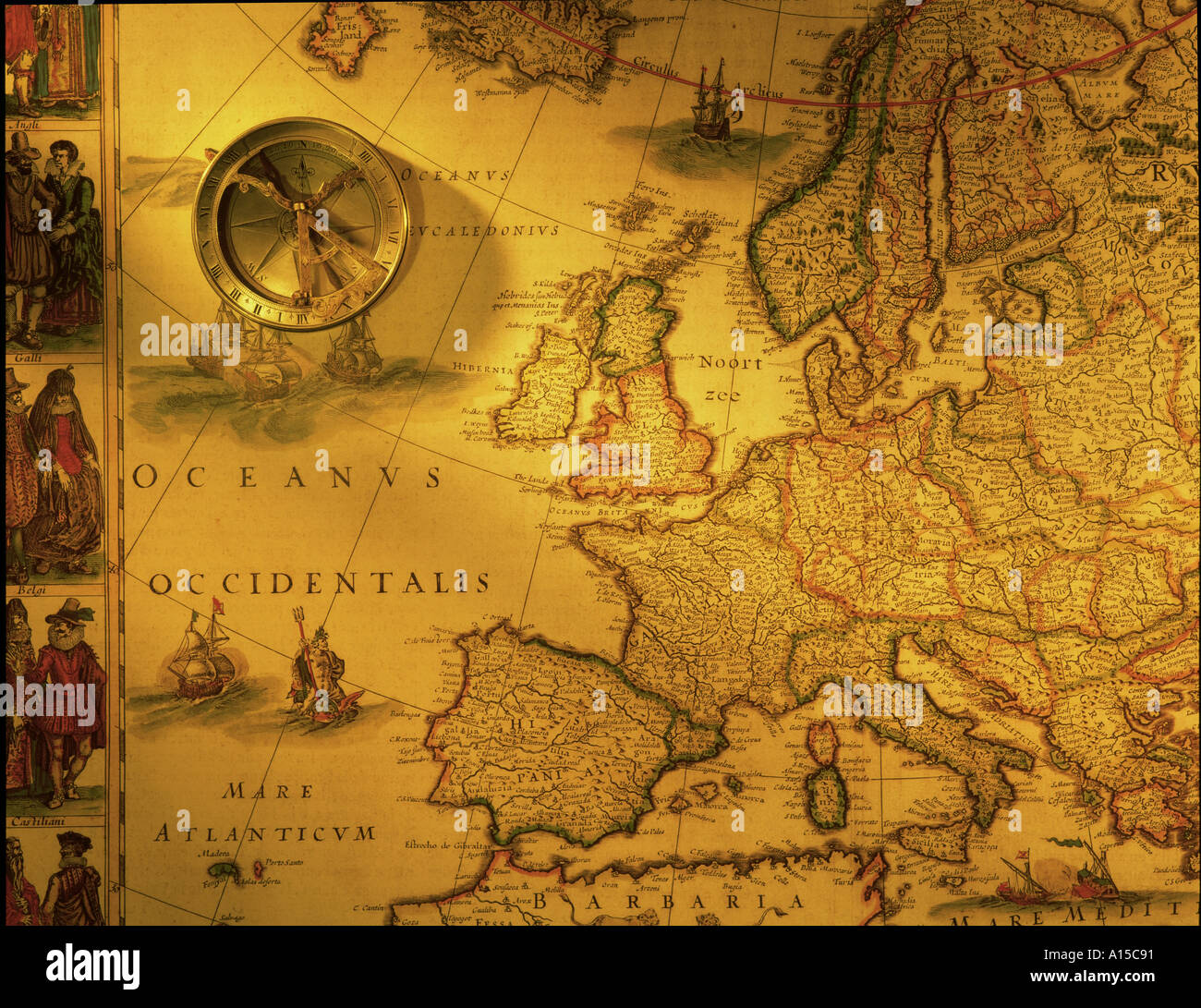 Antique Map: Antique Map Of Europe And Brass Compass Stock Photo: 89233