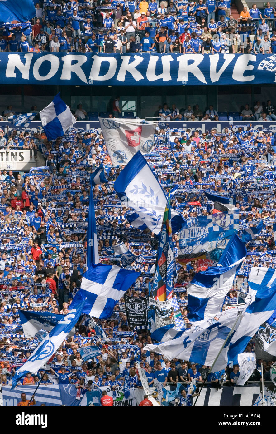 Fans of the german soccer club FC Schalke 04 Stock Photo