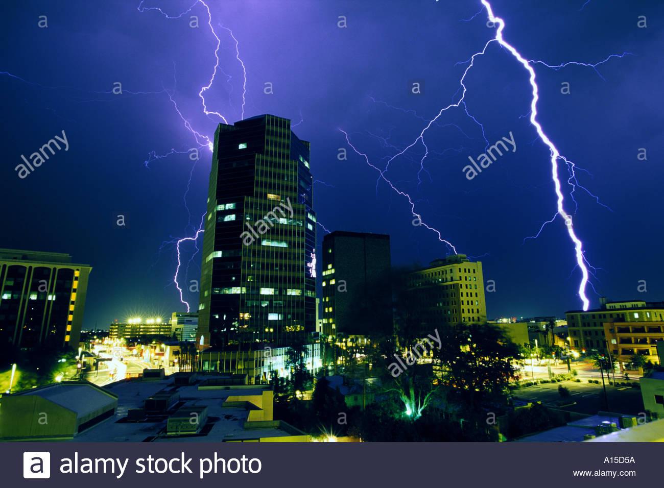 lightning over city at night downtown tucson arizona tucson skyline