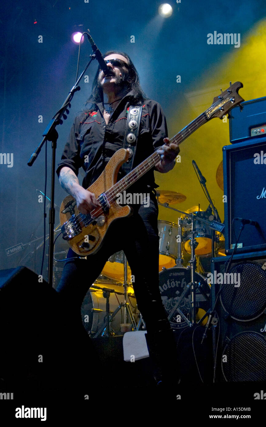 Lemmy performing live with the hard rock band Motorhead