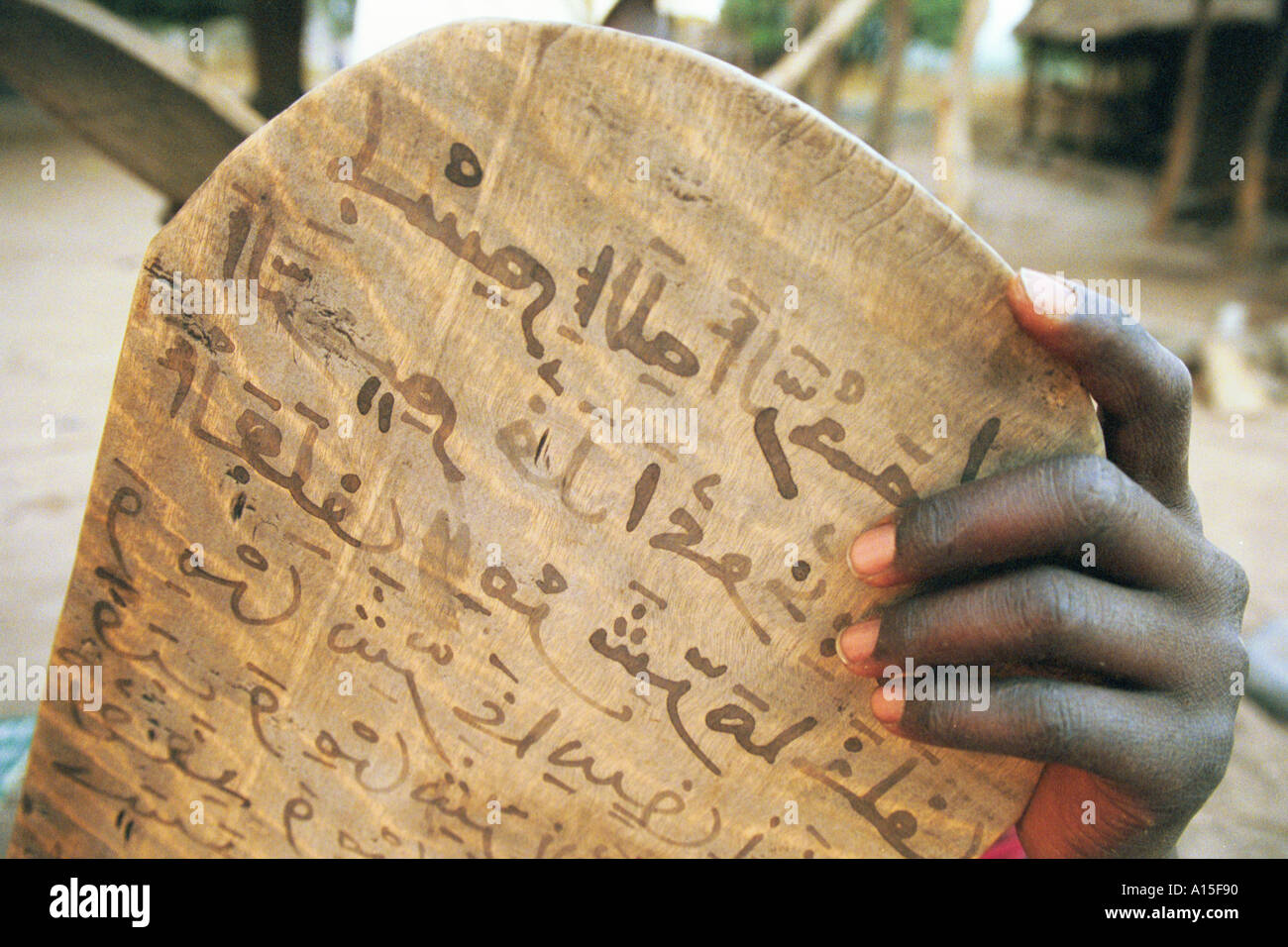 Villagers from a muslim Fulani village in the eastern region of the West African country of Guinea Bissau study the Koran on - Stock Image