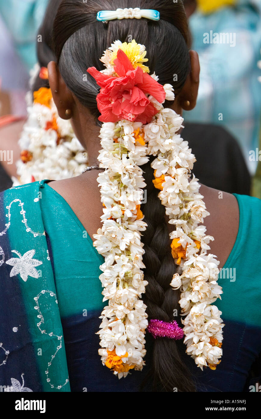 India jasmine hair stock photos india jasmine hair stock images jasmine flowers in an indian womens plaited hair andhra pradesh india stock image izmirmasajfo