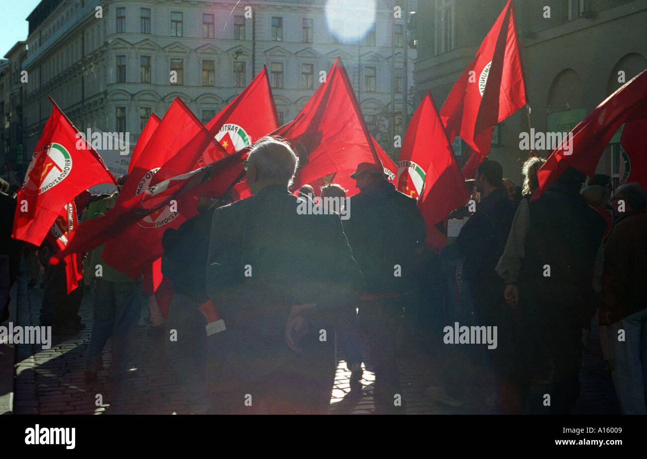 Communists march through the streets of central Prague in the Czech Republic September 23 2000 during an anti-globalization - Stock Image