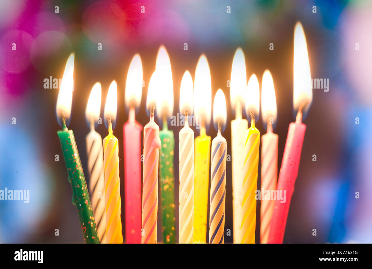 lit birthday cake candles close up stock photo 10157067 alamy