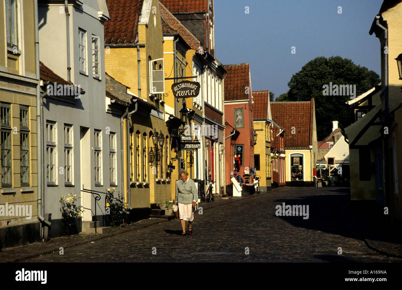 17 18th century houses Aeroskobing Aero Denmark - Stock Image