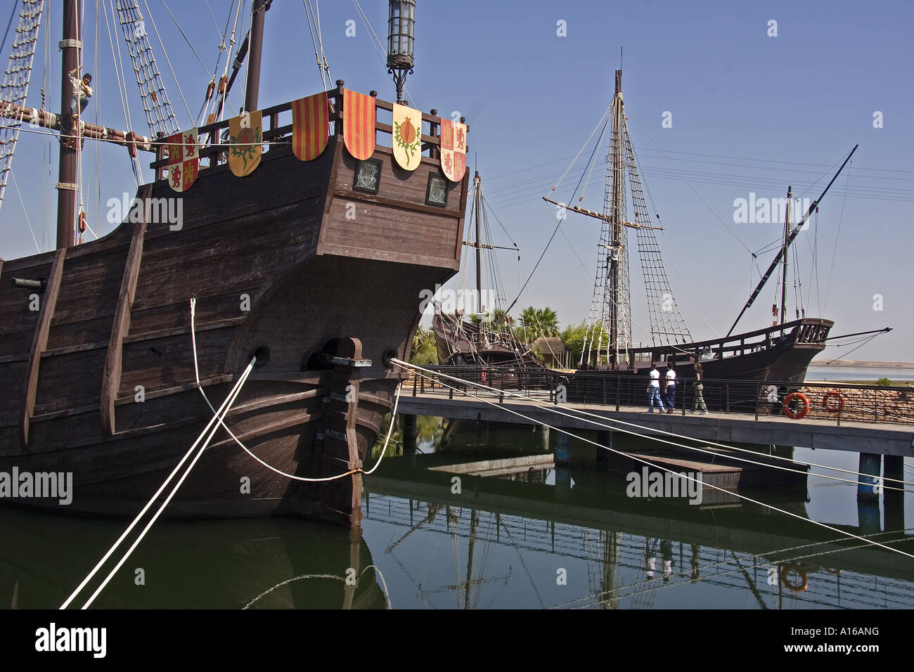 Replicas of Santa Maria Pinta and Niña the three ships used by Christopher Columbus in his first voyage across the Stock Photo