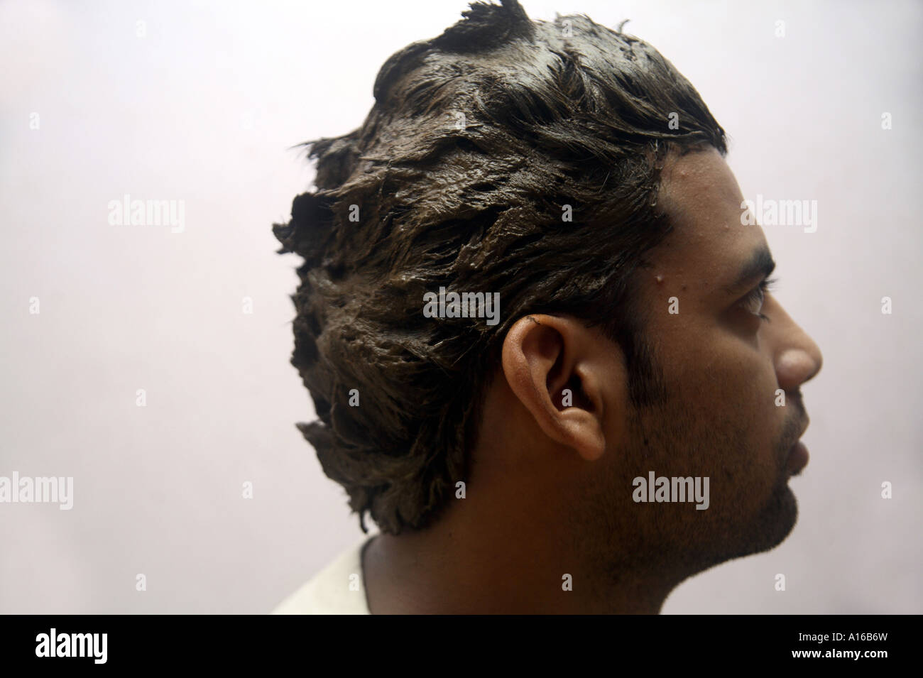 Indian Male With Hair Care Menhdi Heena Dye To Color Hair Stock