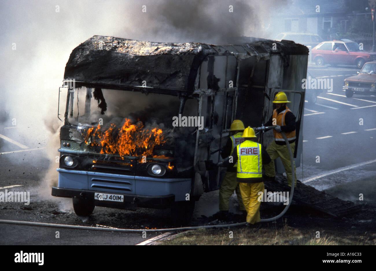 Van on fire at Hayfield, Derbyshire, England, UKStock Photo