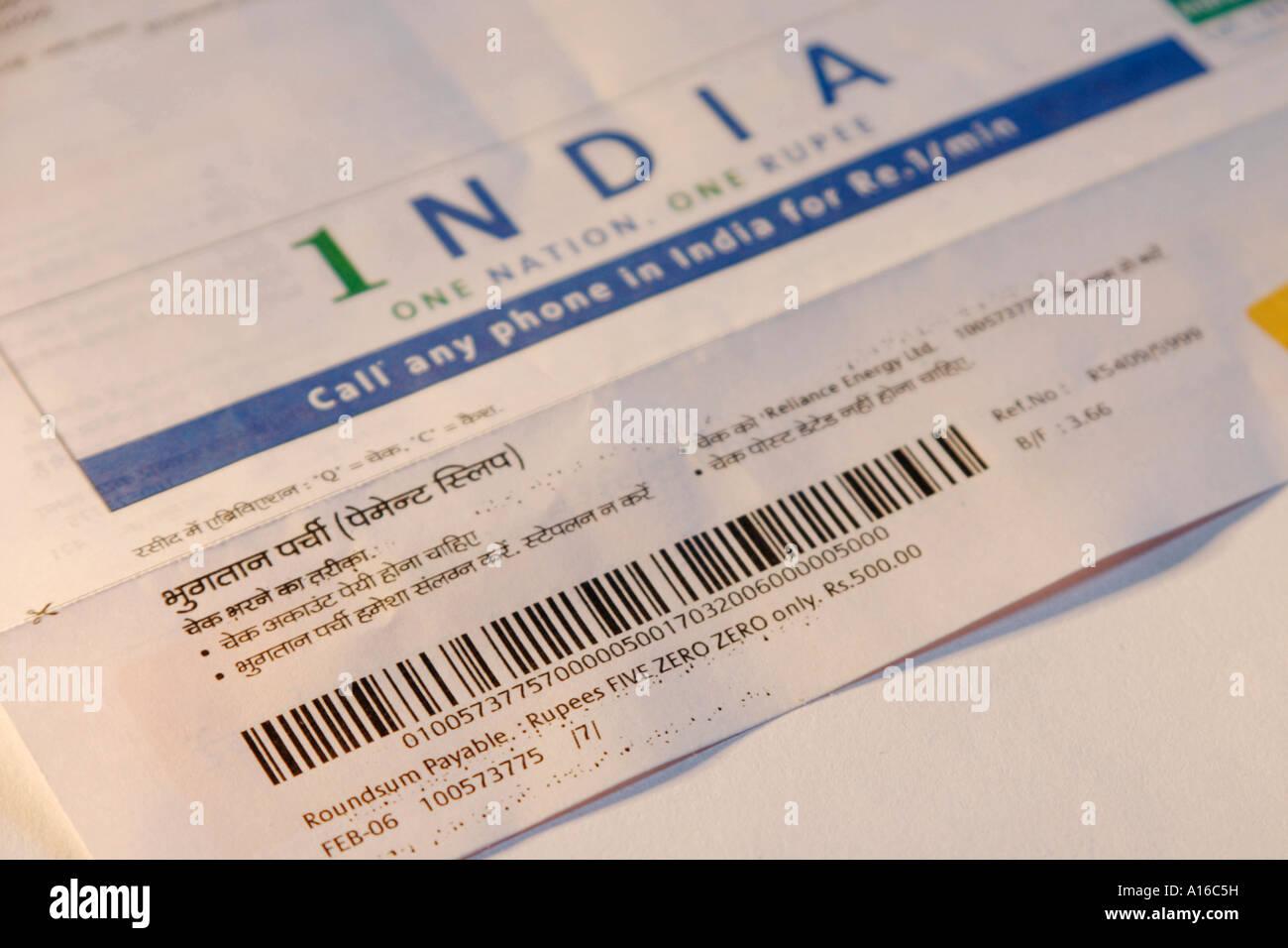 vhm102389 payment slip of electric bill of reliance energy urban living bar code bombay now mumbai maharashtra india