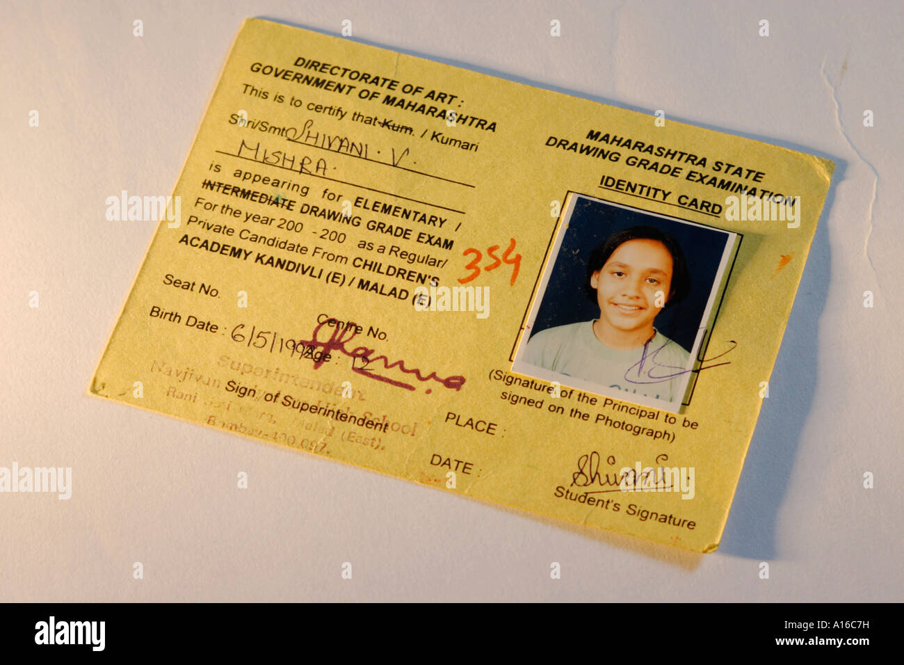 Identification card of Maharashtra State Drawing Grade