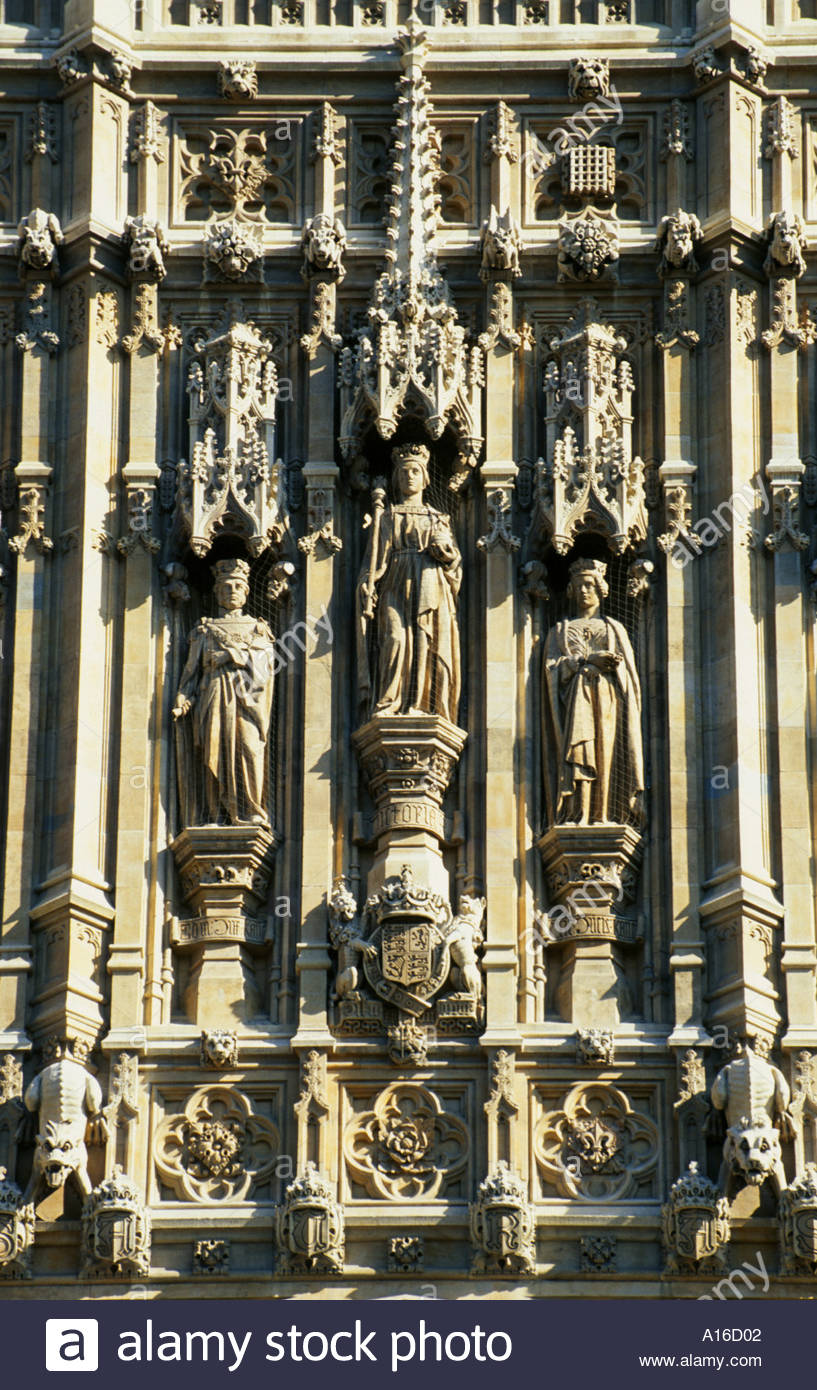 Victoria Tower (Detail), Houses of Parliament ,Westminster, London, England, UK - Stock Image