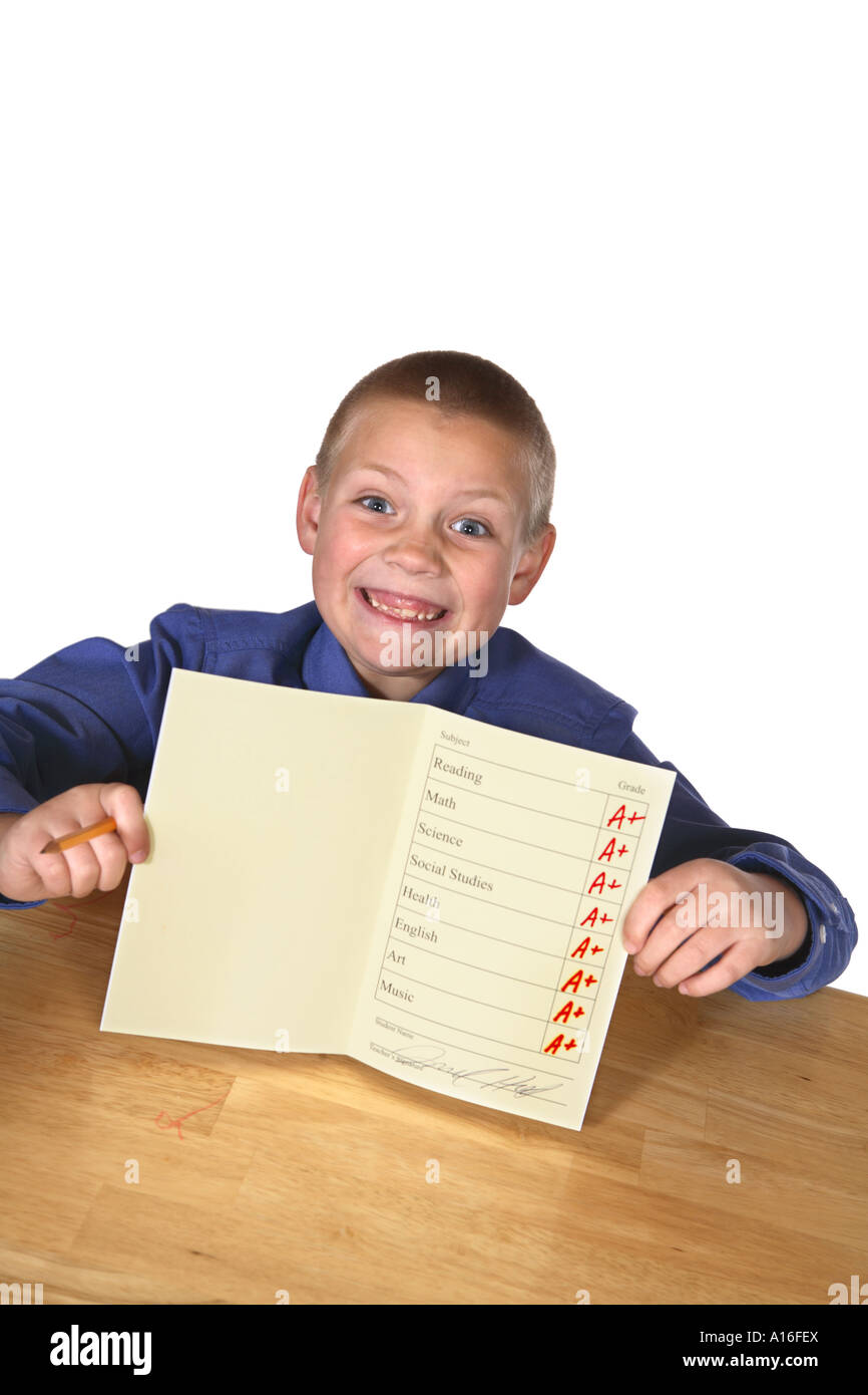 Boy with good report card - Stock Image