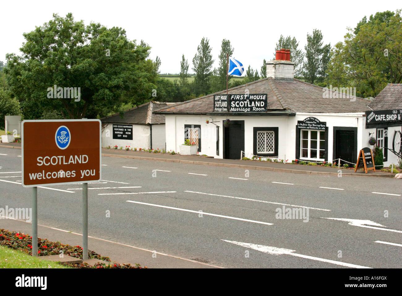 First House Last House in Scotland Gretna Green on Scotland England border Stock Photo