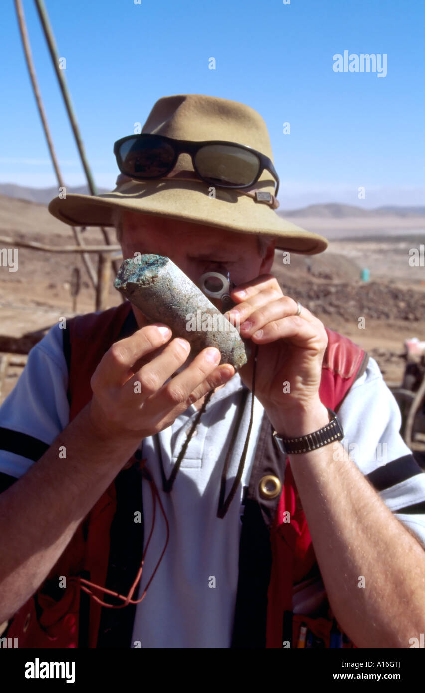 geologist checking drilling core sample Atacama Desert Chile - Stock Image
