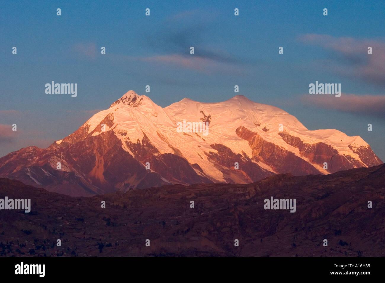 Mount Illimani 6460 mt at sunset La Paz Bolivia - Stock Image
