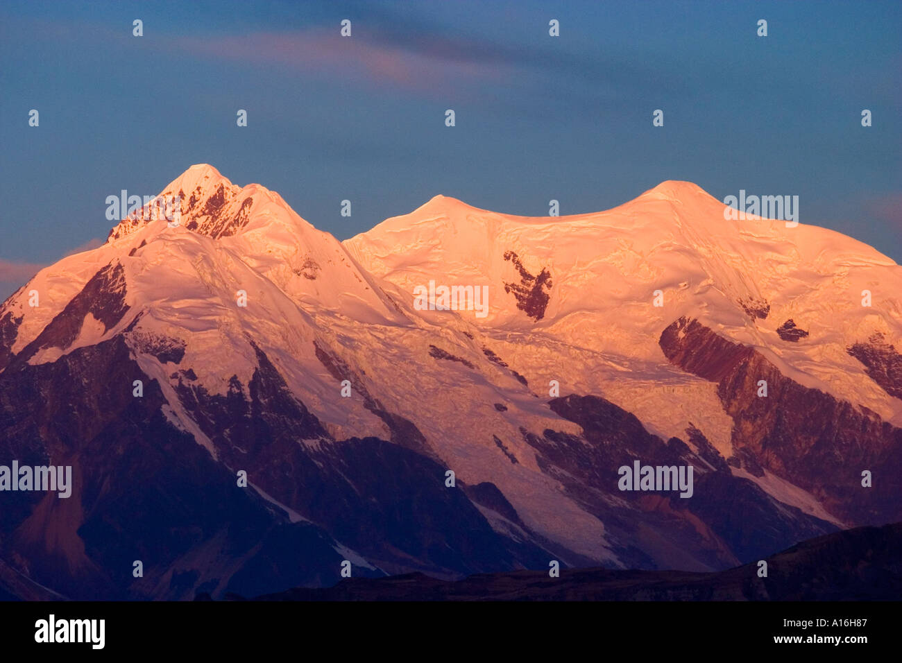 Close up of mt Illimani 6460 mt at sunset La Paz Bolivia - Stock Image