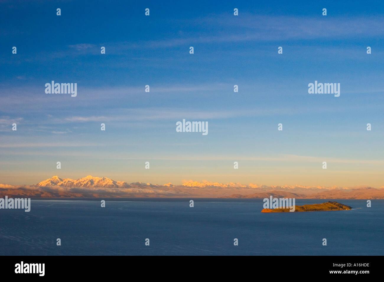 Sunset view of Illampu and Ancohuma with Isla de la Luna Bolivia - Stock Image
