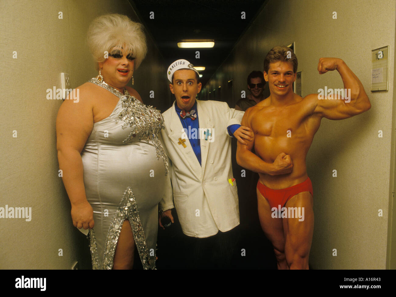 Holly Johnson lead singer with Frankie Goes to Hollywood  singer Divine in Germany on tour  Circa 1985 1980s HOMER SYKES - Stock Image