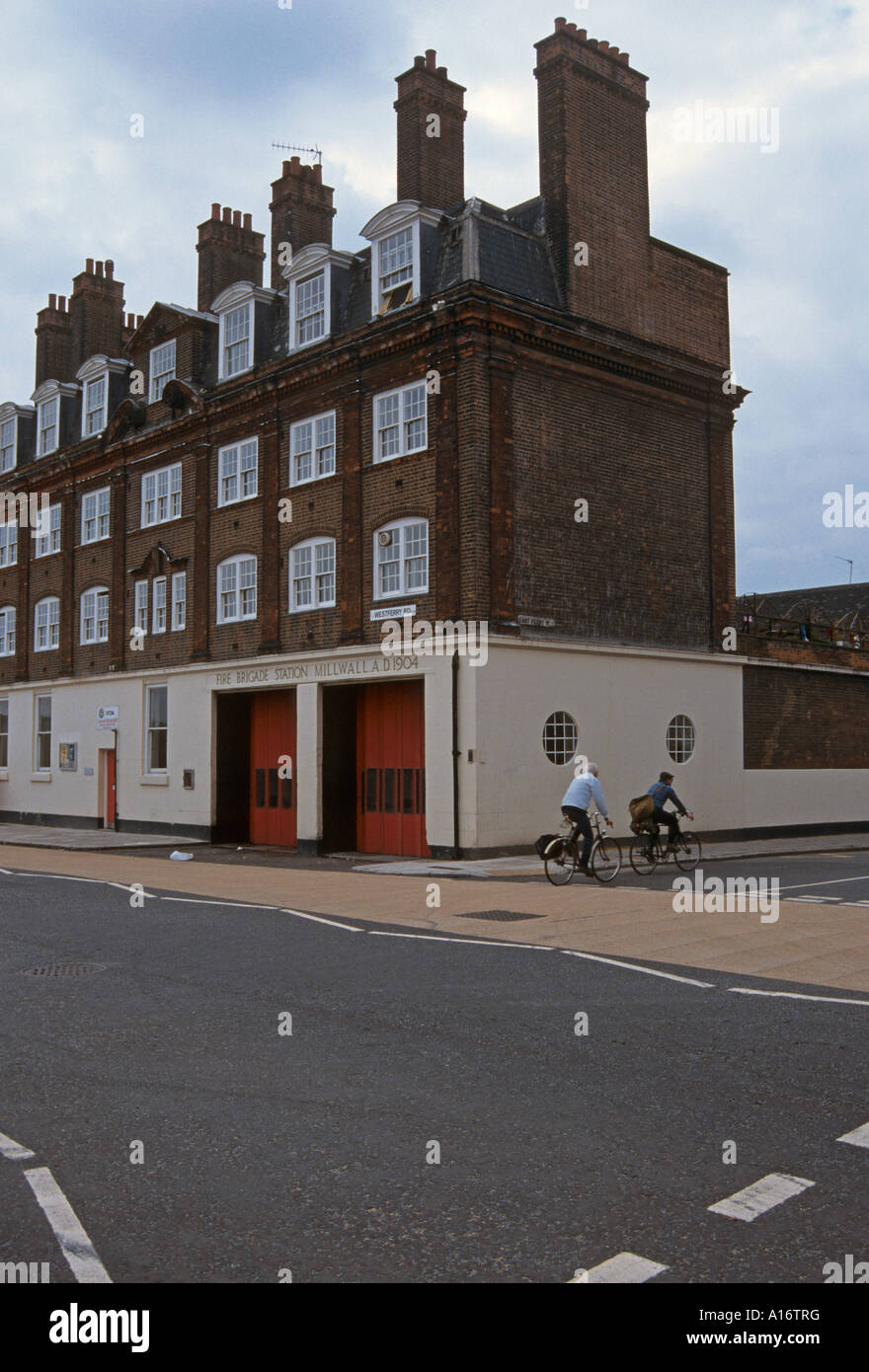 old millwall fire station  Millwall Docklands London England - Stock Image