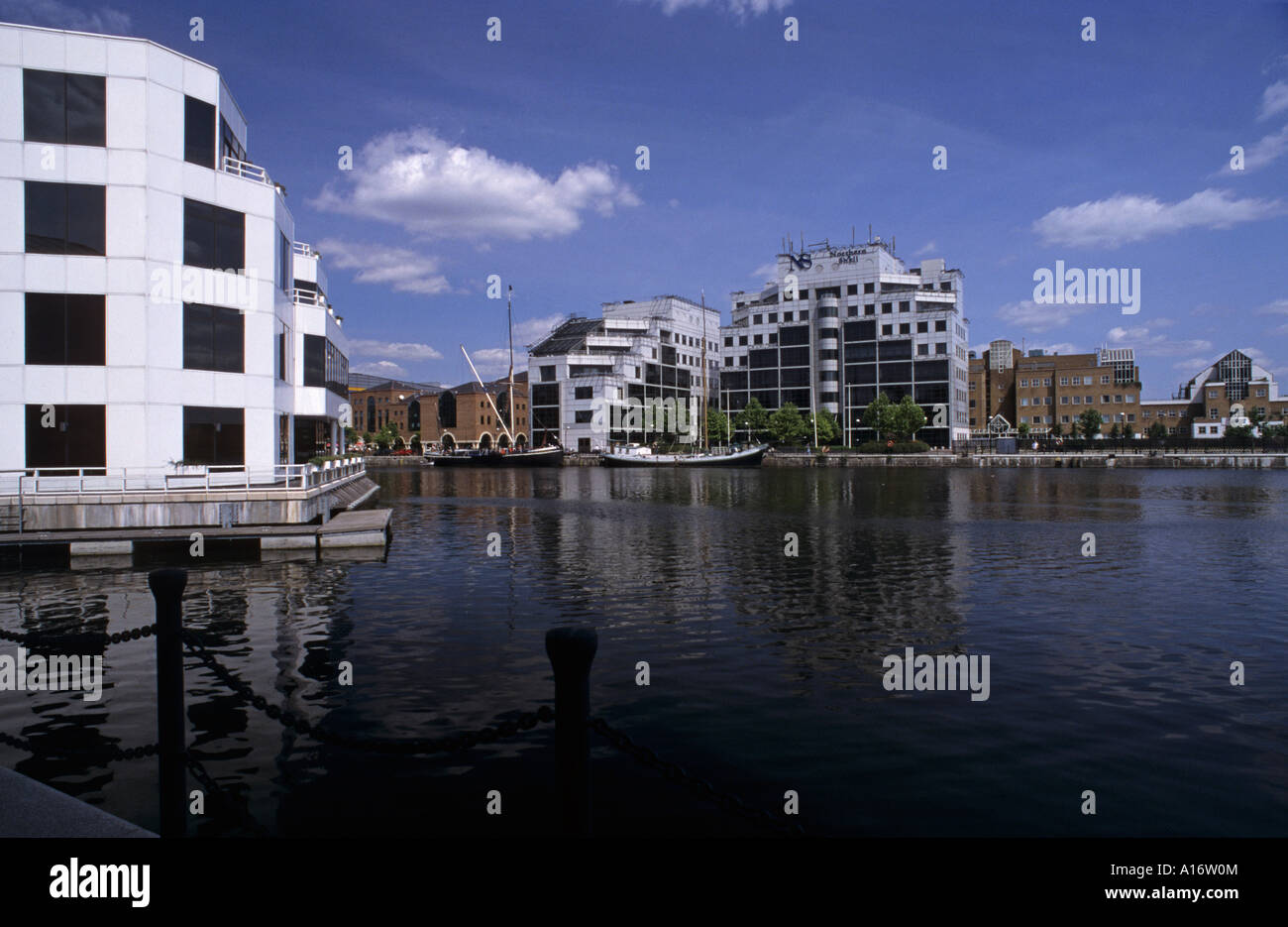 modern buildings and offices in Milwall Dock London Docklands England - Stock Image