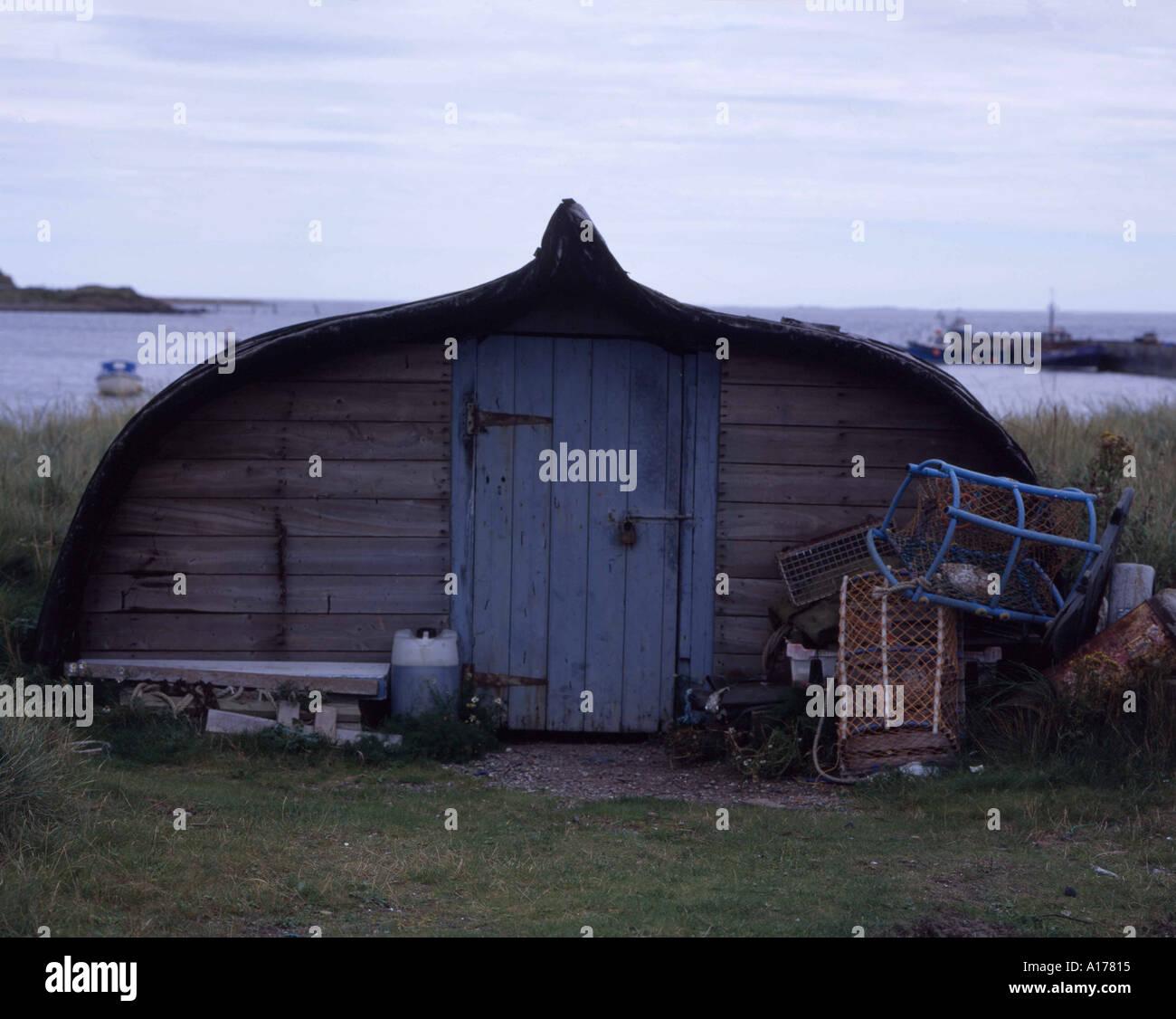 Fishermans hut or Seahouse Holy Island Northumbria UK - Stock Image