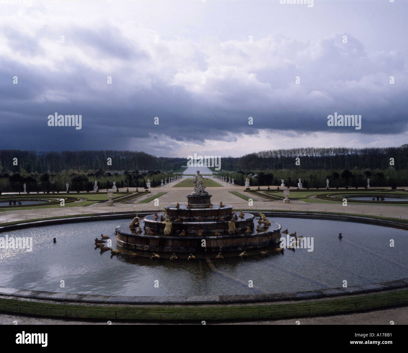 Latona fountain in the gardens of Versailles, France - Stock Image