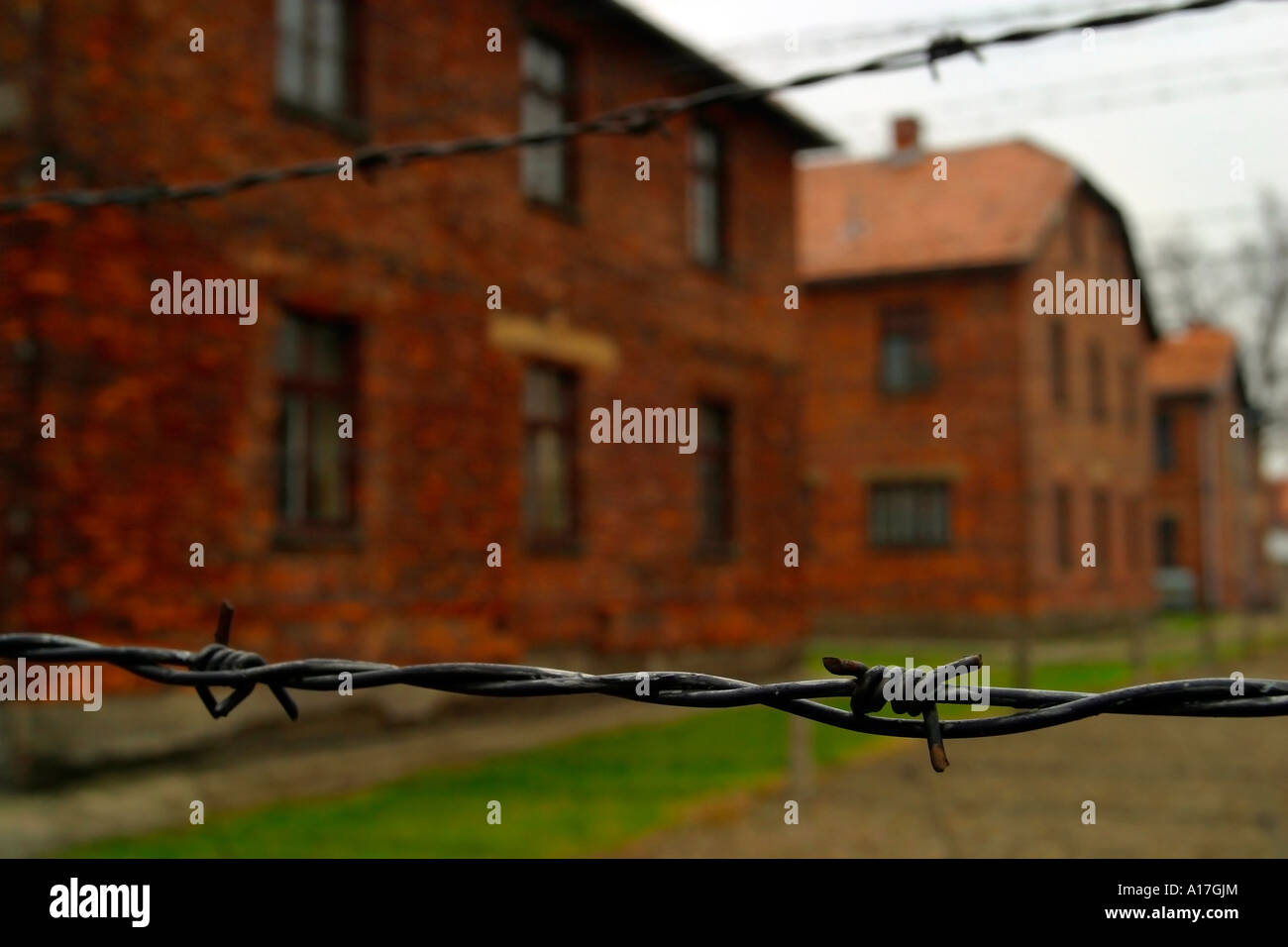 The electric fence at Auschwitz concentration camp, Oswiecim, Poland. - Stock Image
