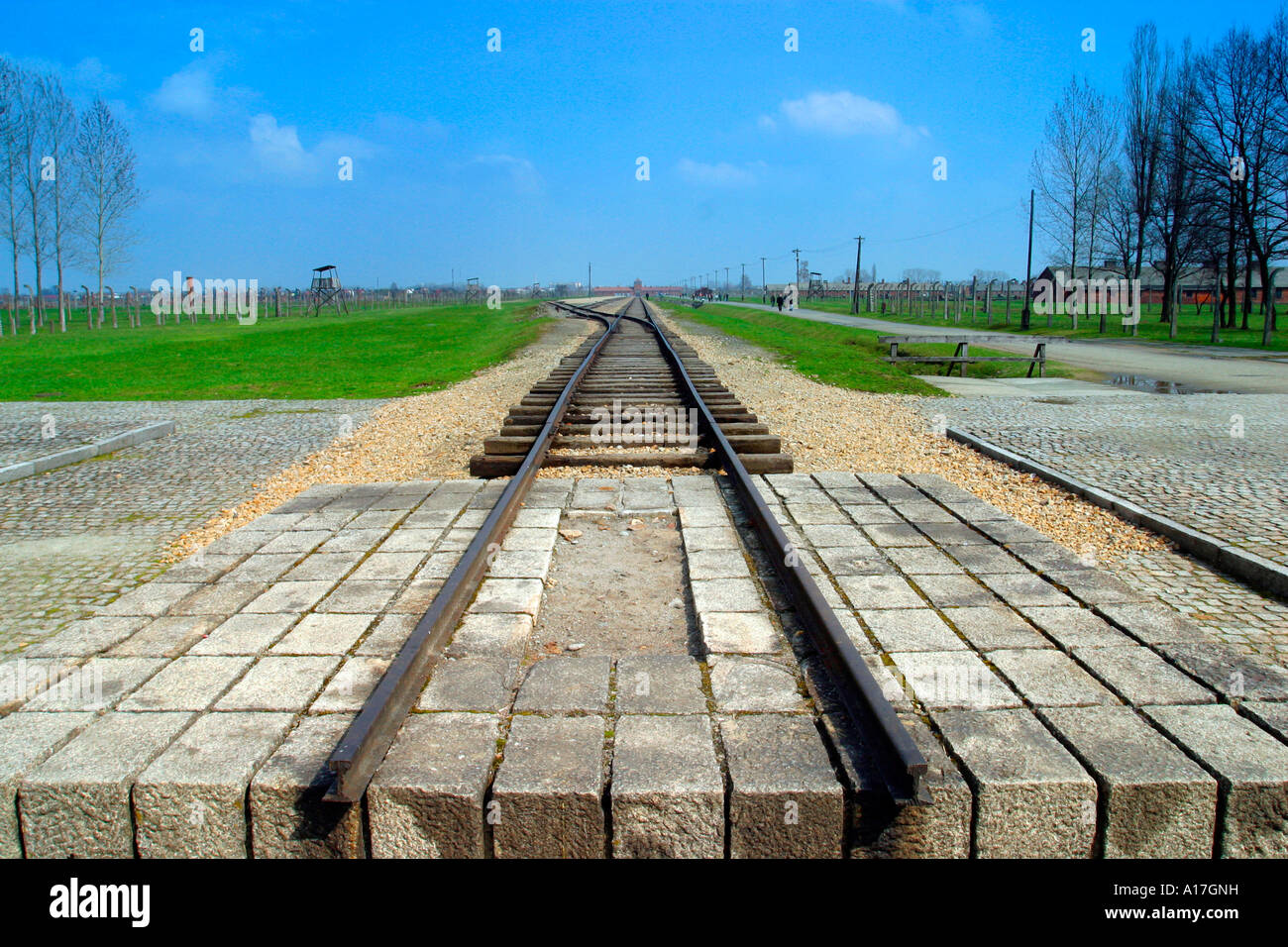 The train to death at Auschwitz concentration camp, Birkenau, Poland. - Stock Image
