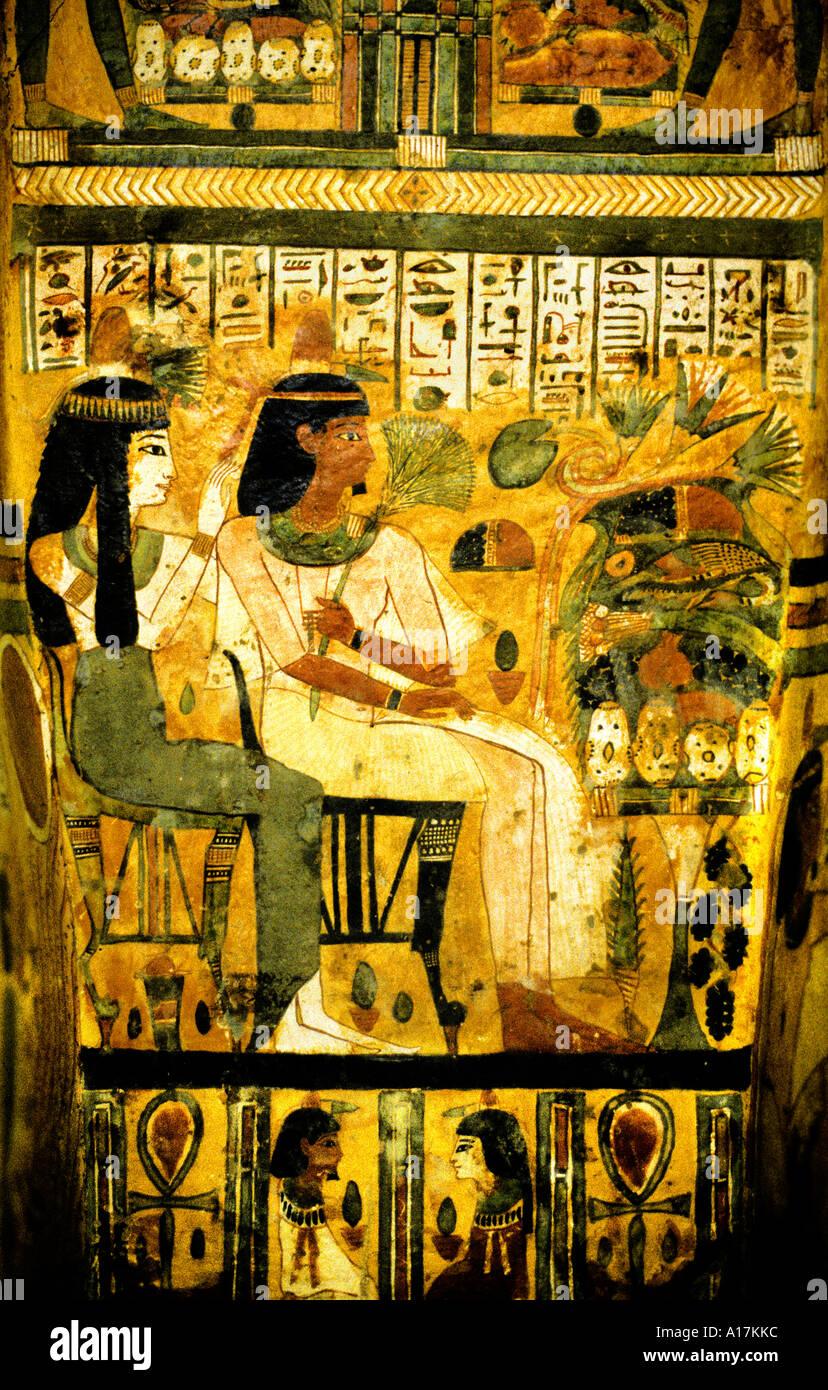 sarcophagus of priestess of Khonsu Egypte Egyptian 1000 BC - Stock Image