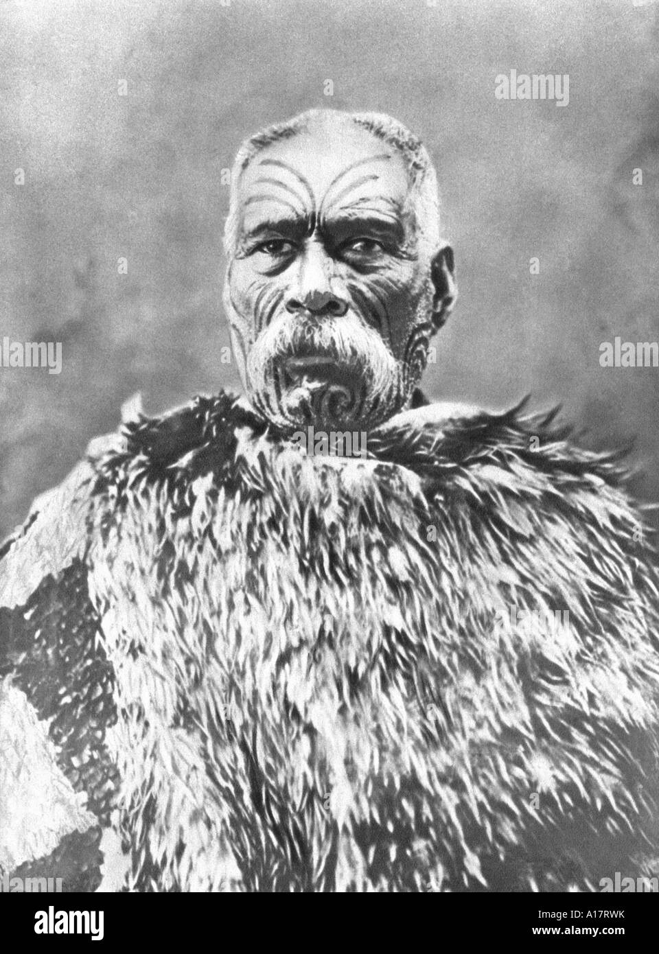Historical Photograph of Maori Chief - Stock Image