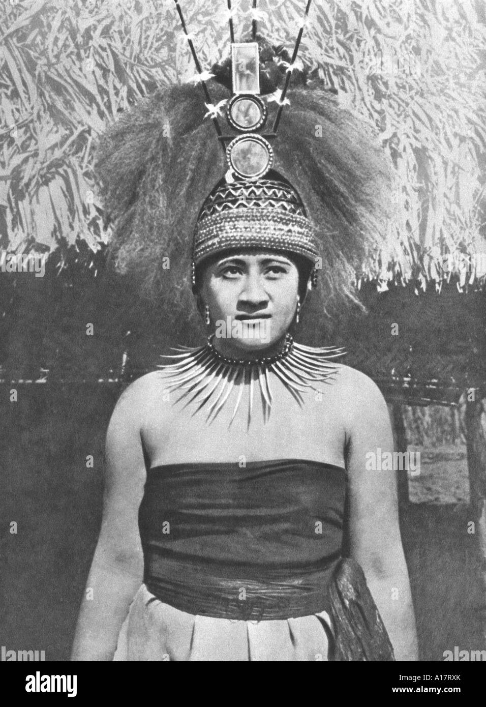 Historical Photograph of Samoan Princess in Traditional Dress - Stock Image