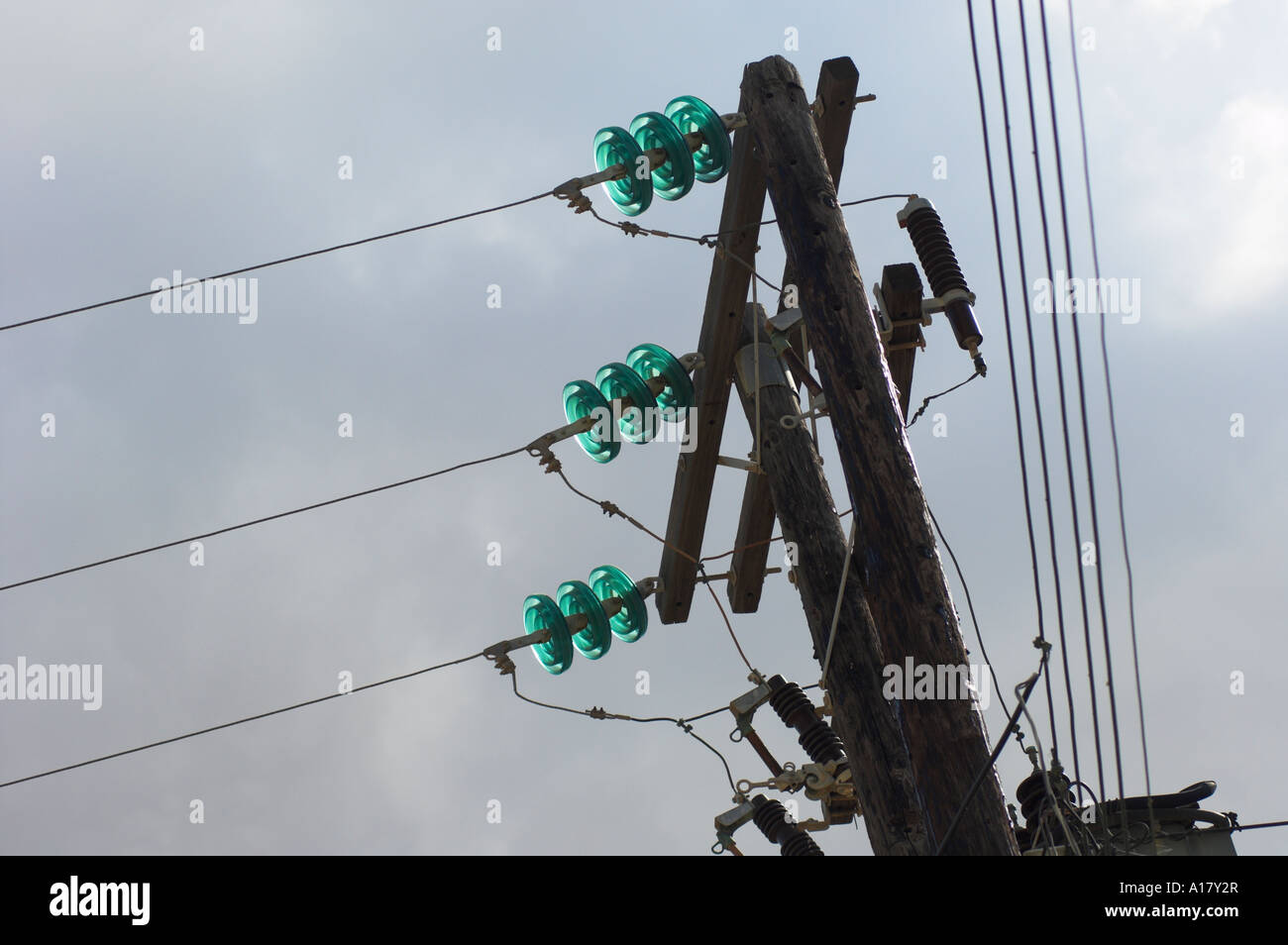 Three phase power lines with glass insulators on wooden support ...