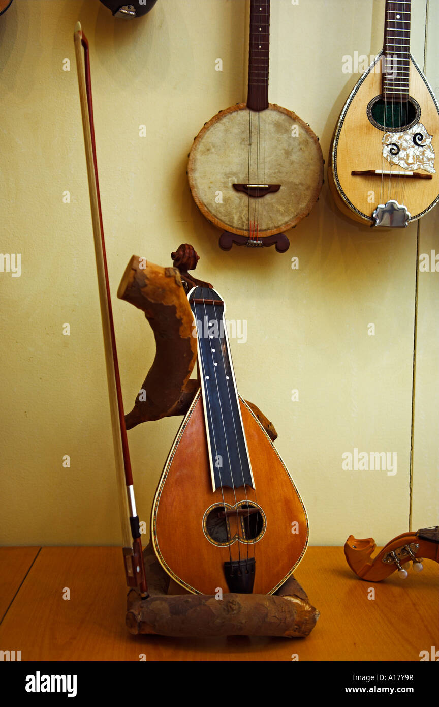 Cretan violin and other stringed musical instruments - Stock Image