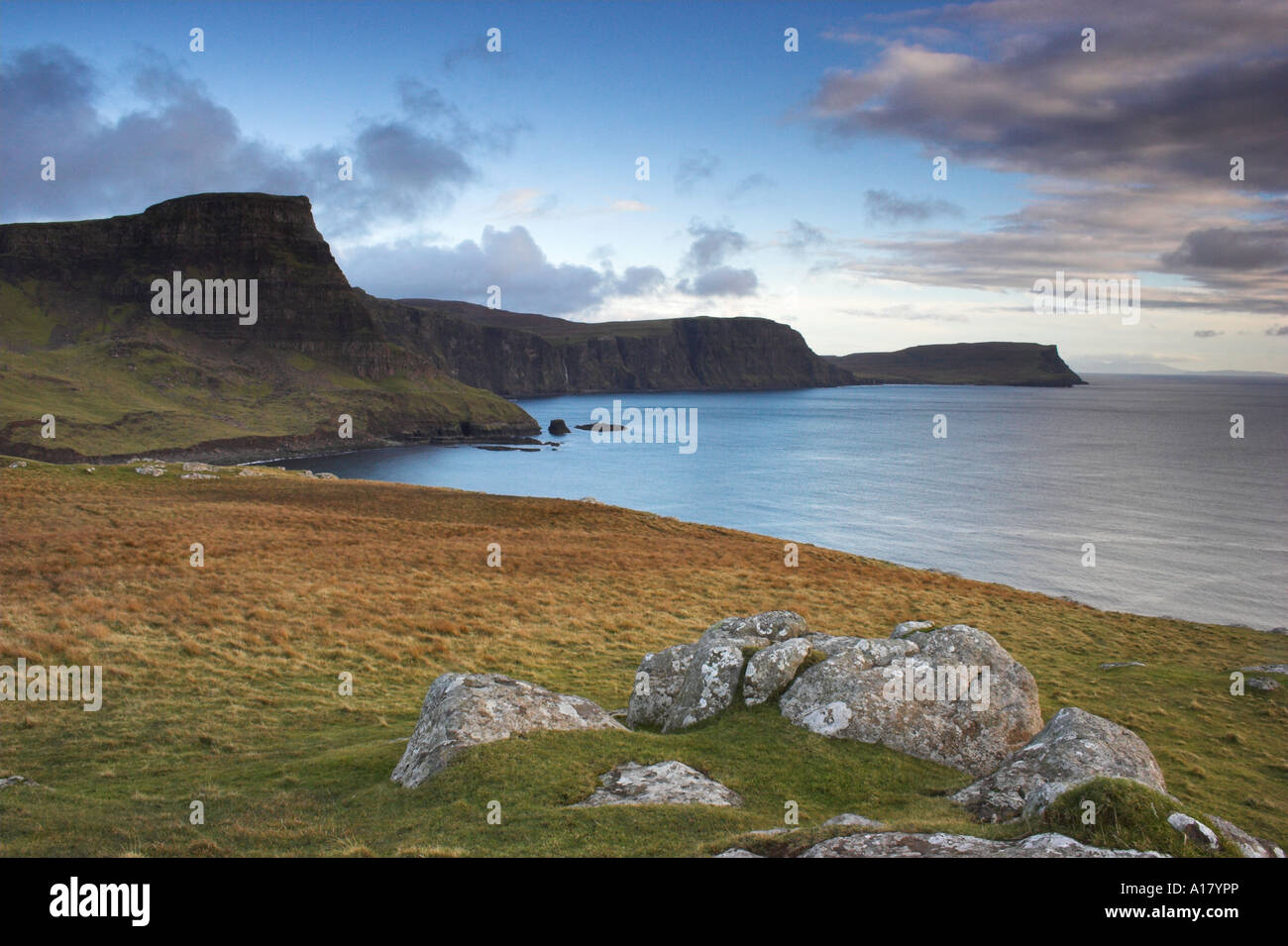 horizontal landscape photo of sunset at moonen bay near neist point on the isle of sky in scotland Stock Photo
