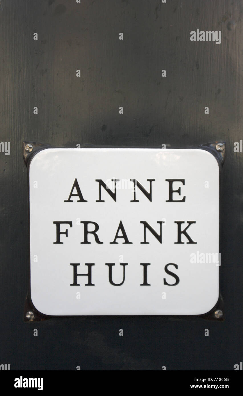 vertical portrait photo of the plaque on the wall outside the house of Anne Frank in Amsterdam in the netherlands Stock Photo