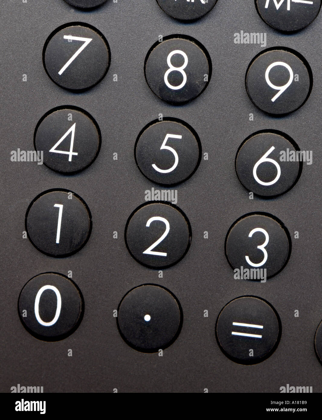 keyboard of a calculator arithmetical sum addition calculation numbers calculate office black keys - Stock Image